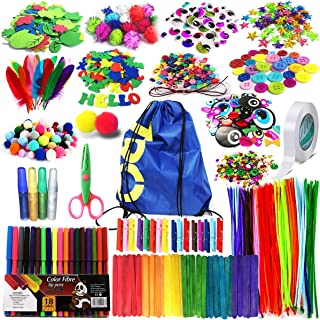 Arts and Crafts Supplies for Kids Girls - Toddler DIY Craft Art Supply Set with Storage Bag for Ages 4 5 6 7 8 9, Craft Pi...