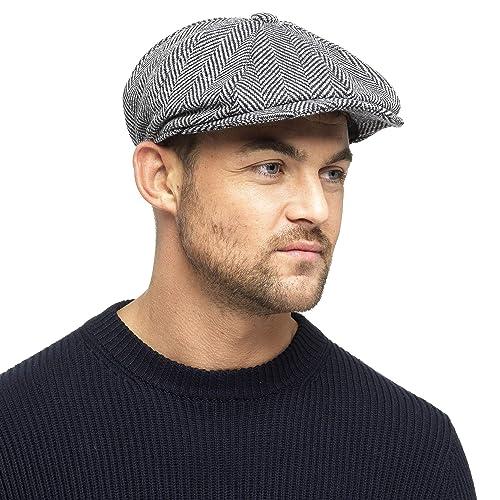 5c9fd021 Black Grey Herringbone Newsboy 8 Panel Baker Boy Tweed Flat Cap Mens Gatsby  Hat