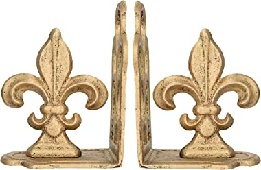 Creative Co-op Distressed Fleur de Lis Shaped Iron (Set of 2 Pieces) Bookends, Antique Gold