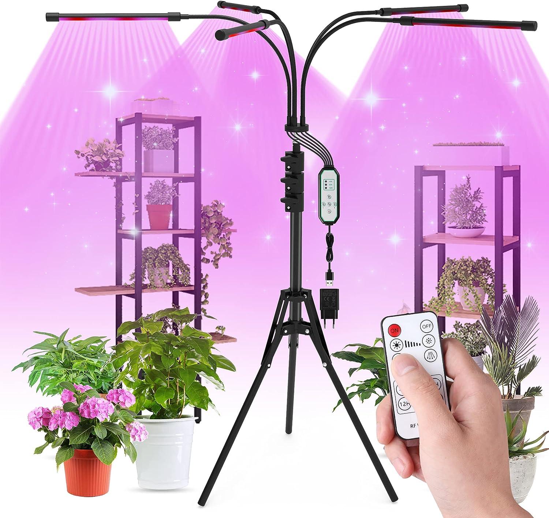 Aogled LED Cultivo Interior 50W,150LED Lámpara de Planta con Trípode,Lámpara LED Cultivo de Espectro Completo con Temporizador (4/8/12H),Grow Light con Control Remoto,3 Modos,para Siembra,Crecimiento