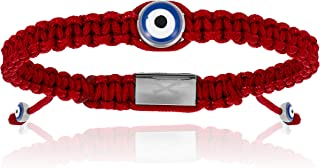 Double Bone Evil Eye Handmade Braided Bracelet with Silver Lucky Eye Unisex and Adjustable