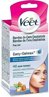 Veet Bandas de Cera Depilatoria Facial - Tecnología Easy Gelwax, Pieles Sensibles, 40 bandas