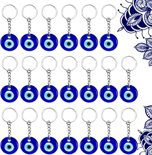 20 Pieces Turkish Blue Evil Eye Keychain Charms Pendants Crafting Glass Keychain with Keyring Hanging Ornament Jewelry Acc...