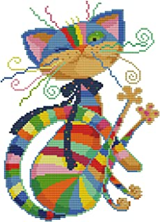 eGoodn Stamped Cross Stitch Kits Printed Pattern - Colorful Cat 11ct Fabric 12.6 inches by 16.5 inches, Embroidery Art Cross-Stitching Needlework, No Frame