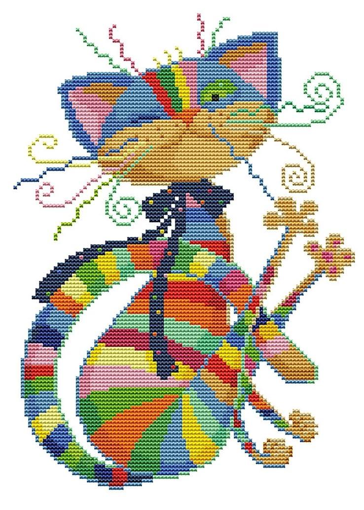 "eGoodn Stamped Cross Stitch Kits Printed Pattern - Colorful Cat 11CT Fabric 12.6"" x 16.5"", Embroidery Art Cross-Stitching Needlework, Frameless"