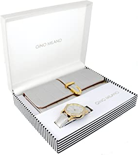 Women's Classy Leather Band Matching Watch & Fold-Over Wallet Gift Set - Silver