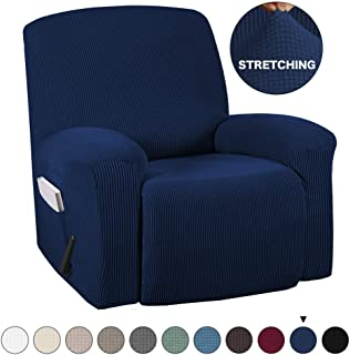 Recliner Slipcover With Pockets 1-Pieces Sofa Cover for Chair Recliner Cover Spandex Stretch Furniture Protector Slipcover for Recliner Chair Anti-Slip Slipcover Highly Fitness (Recliner, Navy)