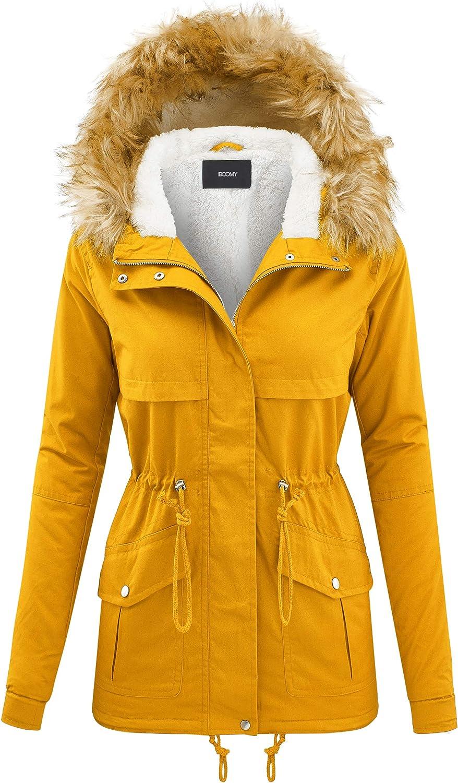 FASHION BOOMY Women's Parka Jacket - Faux Fur Sherpa Fleece Hooded Thick Winter Coat