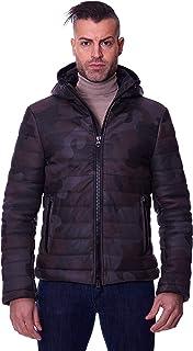 D'Arienzo Piumino in Pelle Militare Uomo con Cappuccio Giaccone Invernale Cappotto Vera Pelle Made in Italy TEO