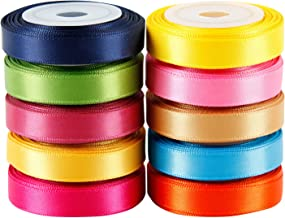 "LaRibbons Solid Color Satin Ribbon Asst. #2-10 Colors 3/8"" X 5 Yard Each Total 50 Yds Per Package"