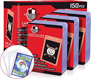 150 Count Card Holder-Semi Rigid Card Saver Card Sleeves for Trading Cards, Baseball Cards Sleeves Toploader Protector Com...
