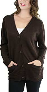 ToBeInStyle Women's Long Sleeve Deep V-Neck Knitted Button Up Cardigan Sweater