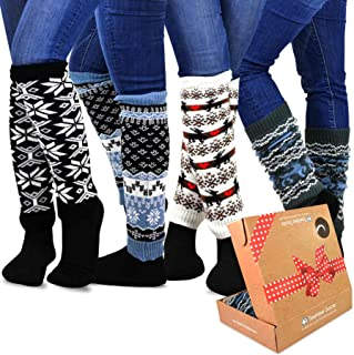 TeeHee Gift Box Women's Fashion Leg Warmers 4-Pack Assorted Colors (Winter Snow flakes)
