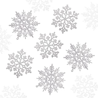 Blulu 56 Pieces Christmas Glitter Snowflake Plastic Snowflake Ornaments Snowflake Hanging Decorations Christmas Tree Decorations for Christmas Party and Home Decor (Silver)