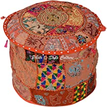 Stylo Culture Living Room Decor Cotton Patchwork Embroidered Ottoman Stool Pouf Cover Orange Floral 40 cm Footstool Floor Cushion Cover Ethnic Decor