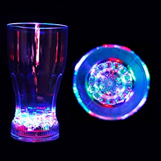 Fun Central (R380) 12oz LED Flashing Multicolor Clear Acrylic Glass Cup, Light up Drinking Cup-for Party Soda Juice Party Cup