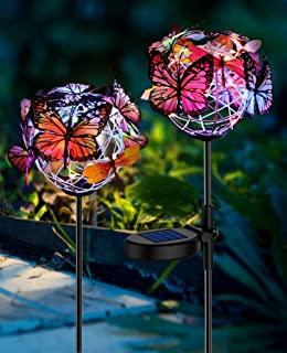 Solar Lights Outdoor Butterfly Lights Garden Decorative SolarStake Lights with Butterflies Decor Powered Waterproof for G...