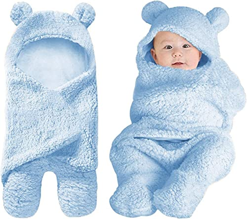 Newborn Baby Girls Boys Swaddle Receiving Blankets Wraps Soft 0 6 M Baby Clothes Plush Items Essentials Blue Color