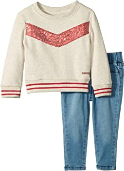 Two-Piece Oatmeal French Terry Pullover with Sequin Piecing, Stretch Denim Leggings (Infant)