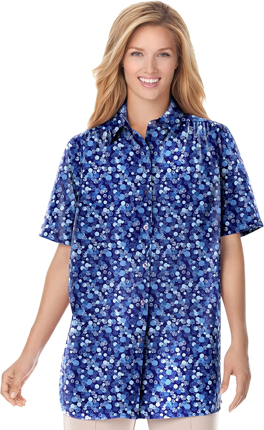 Woman Within Women's Plus Size Peached Button Down Shirt