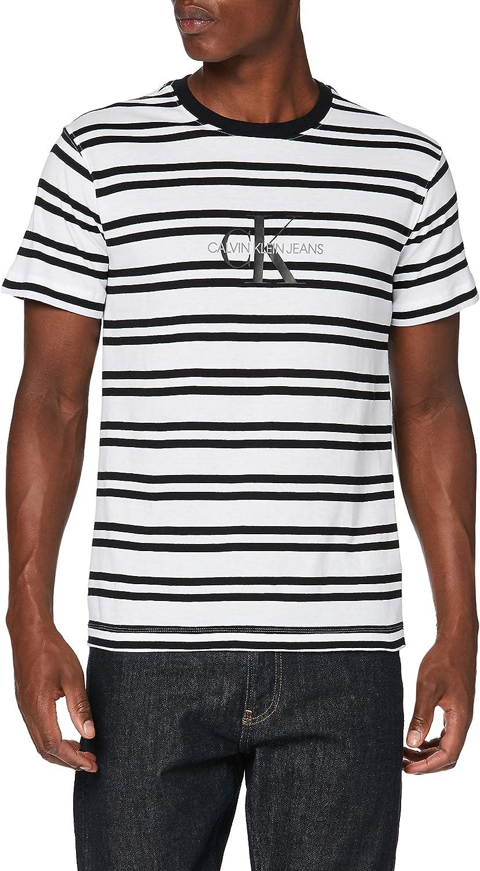 Calvin Klein Striped CK Center Logo tee Camisa para Hombre