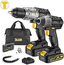 Taladro Atornillador, TECCPO Professional 60Nm Taladro Bateria, 180Nm Atornillador a Bateria, 2 Baterías 2.0Ah, 30min Cargador Rápido - TDCK01P
