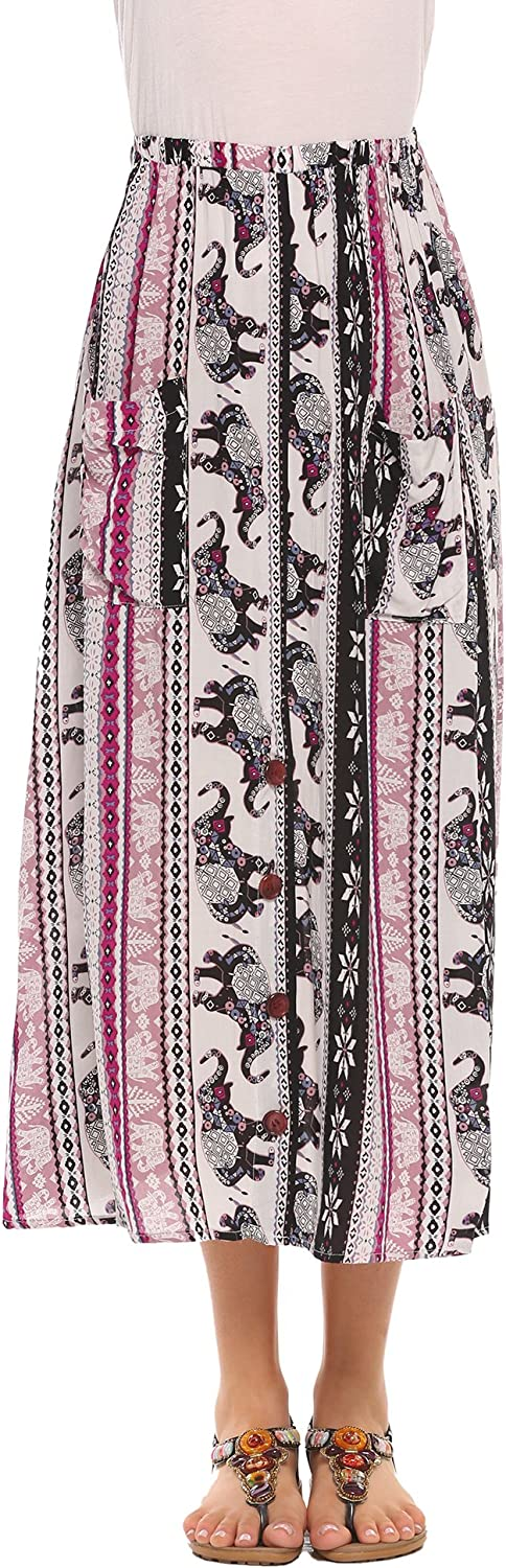 Women Vintage Elephant Printed Front Button Beach Midi Long Skirt with Pocket