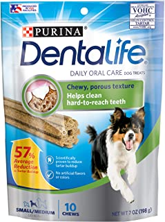 Purina DentaLife 178285 Daily Oral Care Dog Treats 10 Count Pouch, Small/Medium