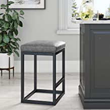 Nathan James 22101 Nelson Bar Stool with Leather Cushion and Metal Base, 24