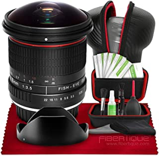 Vivitar 8mm f/3.5 Professional Ultra Wide Angle Aspherical Fisheye Lens for Nikon D500 D3200 D3300 D3400 D5200 D5300 D5500 D5600 D7100 D7200 D7500 Cameras + Hard Shell Lens Case & 8-in-1 Cleaning Kit