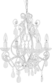 Tadpoles 4-Bulb Vintage Plug-In or Hardwired Mini-Chandelier, White Diamond