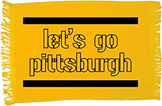 BeeGeeTees Let's Go Pittsburgh Black and Gold Hand Towel Football Fan Towel