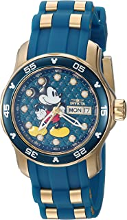 Disney Invicta Women's Limited Edition Stainless Steel Quartz Watch with Silicone Strap, Two Tone, 20 (Model: 23771)
