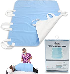 """Atcha Ba Waterproof Positioning Bed Pad with 6 Handles, Reusable Incontinence Underpad, Washable Hospital and Home Care Sliding Sheet, 34"""" x 36"""" (1-Pack Blue)"""