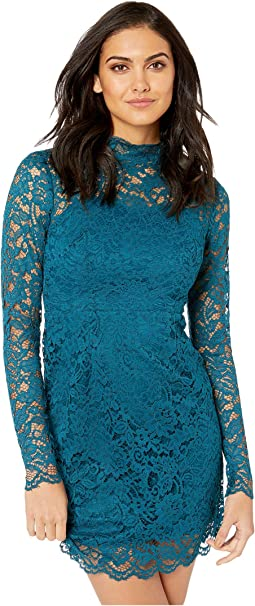 Long Sleeve Mock Neck Lace Dress