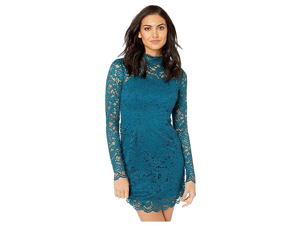 Betsey Johnson Long Sleeve Mock Neck Lace Dress (Teal) Women