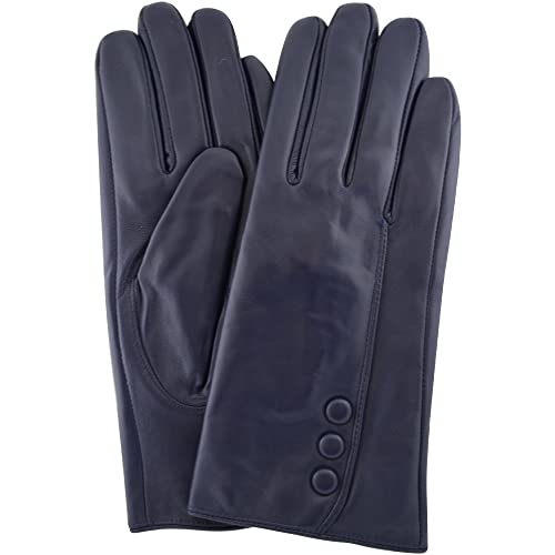 2e77ad64b0cbc Ladies Butter Soft Navy Leather Glove with Button Feature   Warm Fleece  Lining
