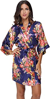 KimonoDeals Women's dept Satin Floral Kimono Robe Short Dressing Gown Sleepwear