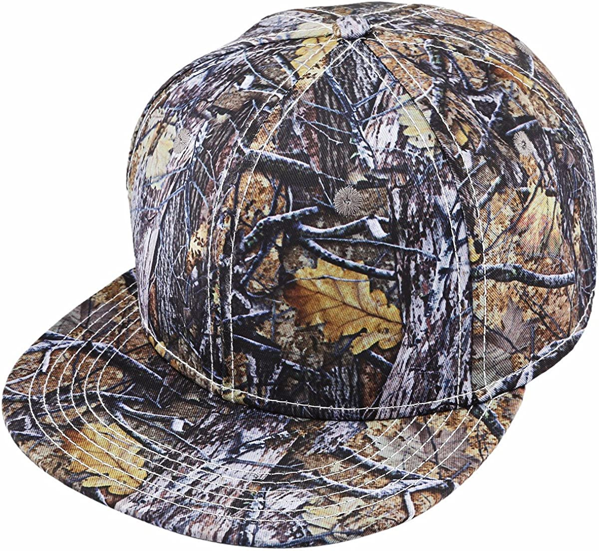 Samtree Unisex Snapback Hat,3D Camo Leaves Printed Outdoor Hunting Flat Brim Baseball Cap