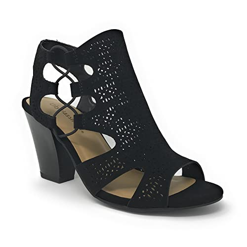 a3ad556ea3fb City Classified Open Toe Perforated Lace up Elastic Side Stacked Chunky  Heel Sandal