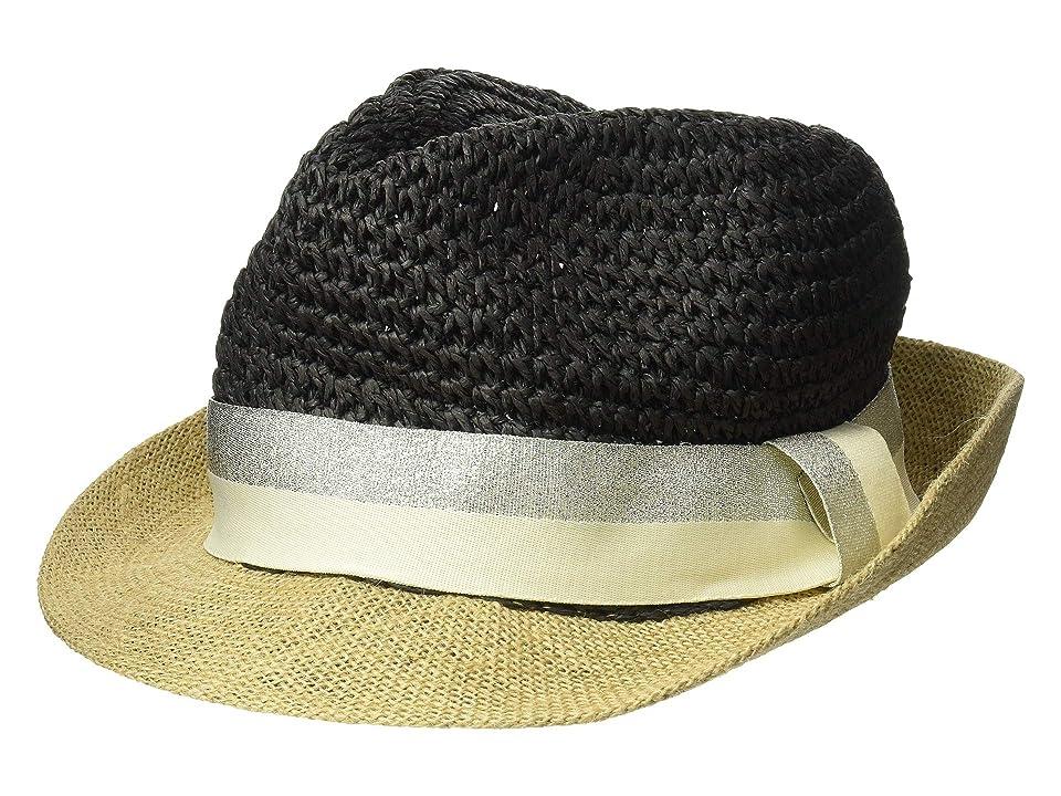Steve Madden Paper Crochet Jute Short Brim Fedora with Two-Tone Band (Black/Silver) Fedora Hats