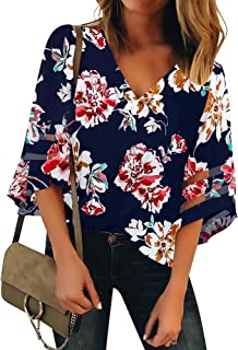 LUYEESS Women's Casual V Neck Loose Mesh Panel Chiffon 3/4 Bell Sleeve Blouse Top Shirt Tee Dark Blue Floral, Size XL(16-18)