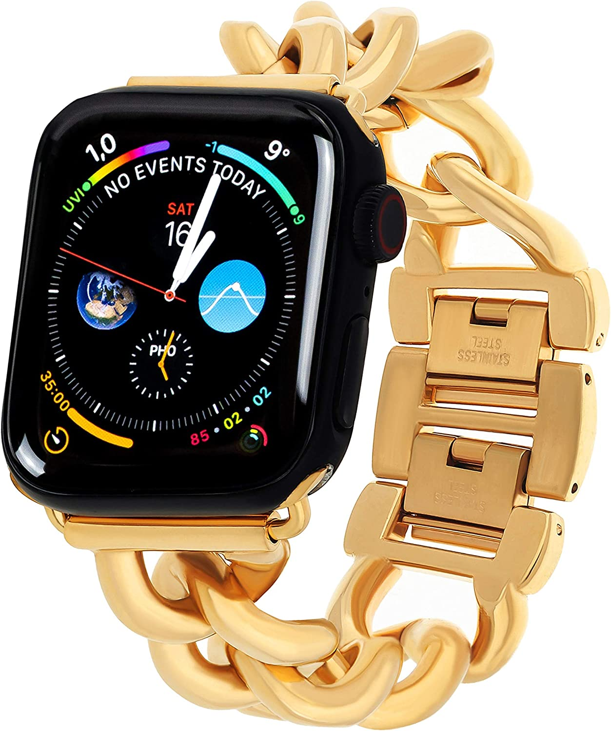 PLTGOOD Apple Watch Band Compatible with 38mm 40mm 42mm 44mm for Women - 18K Gold Plated Stainless Steel Replacement Watch Strap Apple iWatch SE Series 7/6/5/4/3/2/1