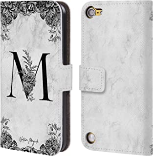 Official Nature Magick Letter M B&W Marble Monogram 1 Leather Book Wallet Case Cover Compatible for iPod Touch 5G 5th Gen