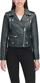 Women's Faux Leather Contemporary Asymmetrical Motorcycle...