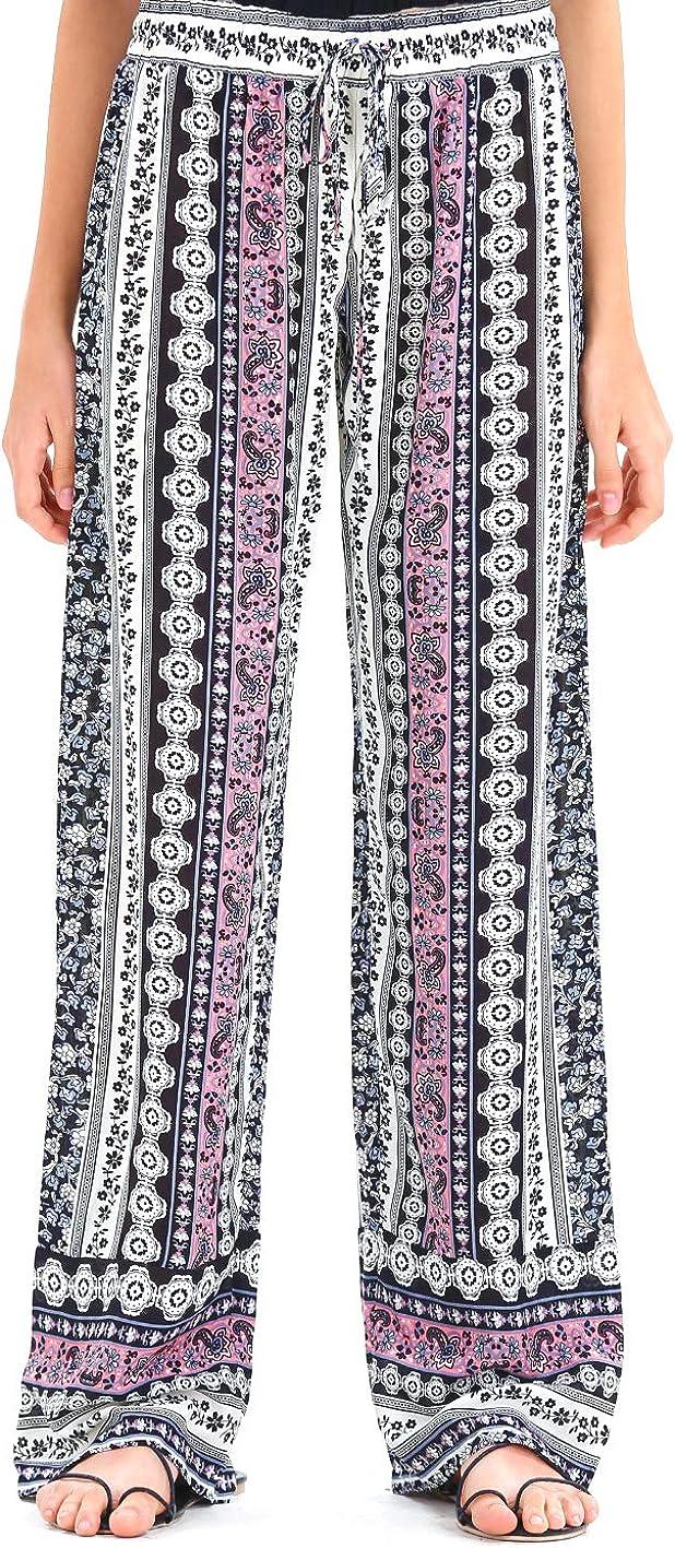 JAONVA Women's Summer Wide Max 61% OFF Leg Elastic Waist H Printed Selling Boho High