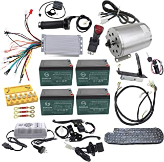 ZXTDR Full Set of 48V 1800W Brushless Electric Motor Controller Throttle Grip Pedal Wiring Harness Ignition Key 4 x12V Battery and Charger for Go Kart Scooter E-Bike Motorized Bicycle ATV Mini Bike