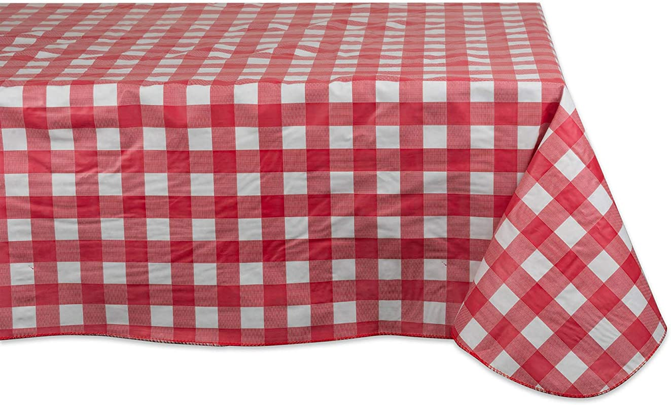 J M Home Fashions Waterproof Spill Proof Vinyl Check Plaid Tablecloth With Flannel Backing 60x84 Red And White
