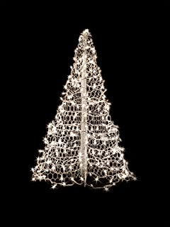 5' White Wire Crab Pot Christmas Tree with 280 Clear (Warm White) LED Mini Lights