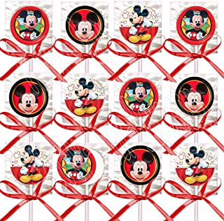 Mickey Mouse Lollipops, Red Black Yellow Party Favors Supplies Decorations Suckers w/ Red Bows Favors -12 pcs